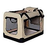 lionto by dibea Hundetransportbox Hundetasche Hundebox faltbare Kleintiertasche Größe (XL) 82x58x58 cm Farbe Beige