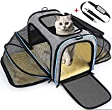 OMORC Erweiterbare Transporttasche Katze, die meisten Airlines genehmigte Tragetasche Katze, faltbare Transportbox Katze, weiche Hundetasche fr kleine Tiere mit Schultergurt in Flugzeug/Auto