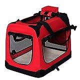 lionto by dibea Hundetransportbox Hundetasche Hundebox faltbare Kleintiertasche Größe (S) 50x34x36 cm Farbe Rot